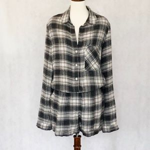 cloth & stone Other - Cloth & Stone Plaid Flannel Romper